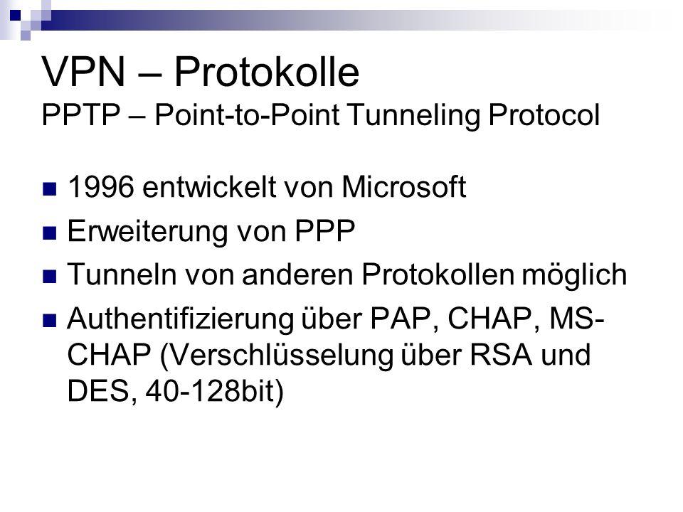 VPN – Protokolle PPTP – Point-to-Point Tunneling Protocol 1996 entwickelt von Microsoft Erweiterung von PPP Tunneln von anderen Protokollen möglich Au