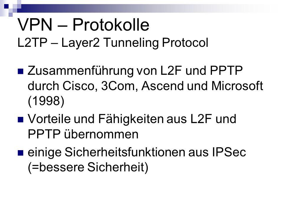 VPN – Protokolle L2TP – Layer2 Tunneling Protocol Zusammenführung von L2F und PPTP durch Cisco, 3Com, Ascend und Microsoft (1998) Vorteile und Fähigke