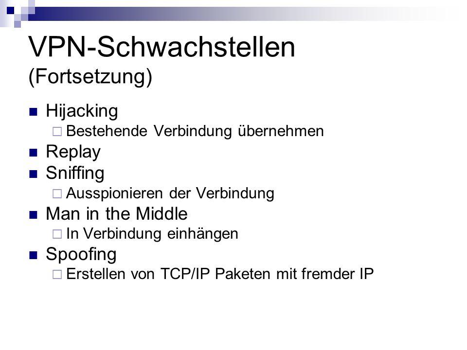VPN-Schwachstellen (Fortsetzung) Hijacking Bestehende Verbindung übernehmen Replay Sniffing Ausspionieren der Verbindung Man in the Middle In Verbindu