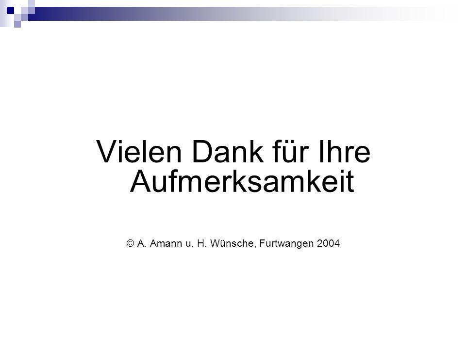 Vielen Dank für Ihre Aufmerksamkeit © A. Amann u. H. Wünsche, Furtwangen 2004