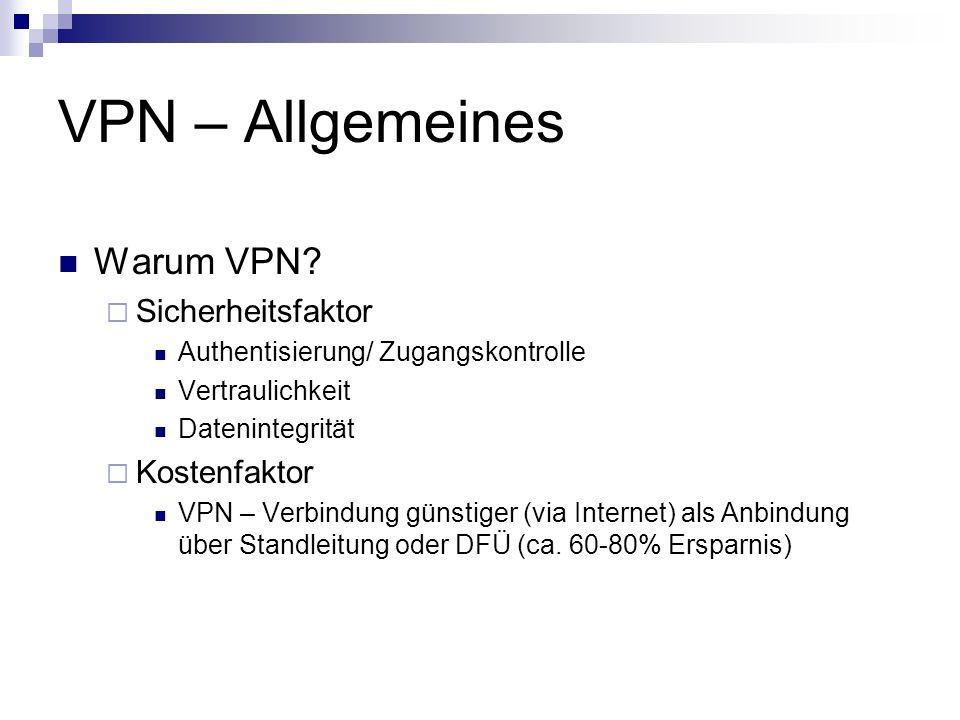 VPN – Allgemeines Warum VPN? Sicherheitsfaktor Authentisierung/ Zugangskontrolle Vertraulichkeit Datenintegrität Kostenfaktor VPN – Verbindung günstig
