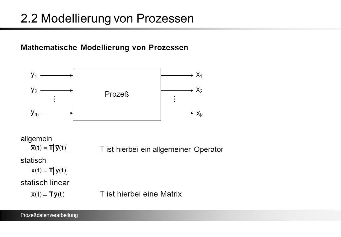 Prozeßdatenverarbeitung 2.2 Modellierung von Prozessen Mathematische Modellierung von Prozessen allgemein T ist hierbei ein allgemeiner Operator stati