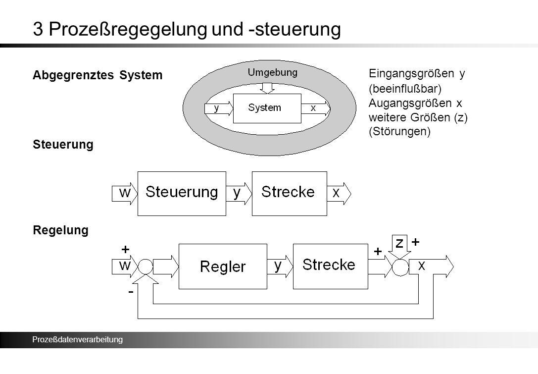 Prozeßdatenverarbeitung 3 Prozeßregegelung und -steuerung Abgegrenztes System Steuerung Regelung Eingangsgrößen y (beeinflußbar) Augangsgrößen x weite
