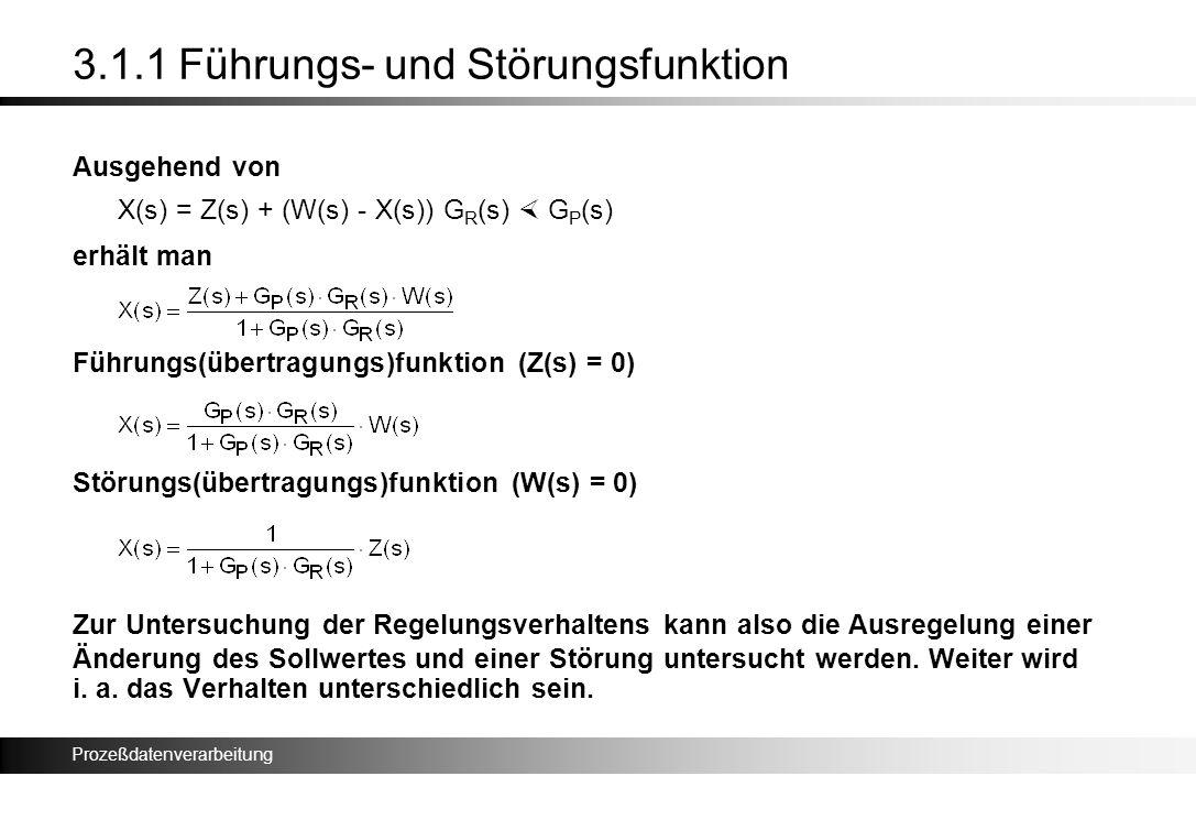 Prozeßdatenverarbeitung 3.1.1 Führungs- und Störungsfunktion Ausgehend von X(s) = Z(s) + (W(s) - X(s)) G R (s) G P (s) erhält man Führungs(übertragung
