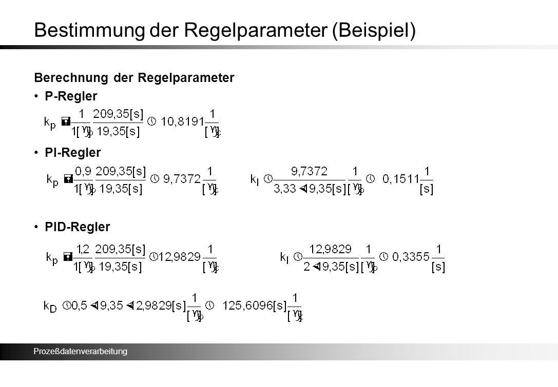 Prozeßdatenverarbeitung Bestimmung der Regelparameter (Beispiel) Berechnung der Regelparameter P-Regler PI-Regler PID-Regler