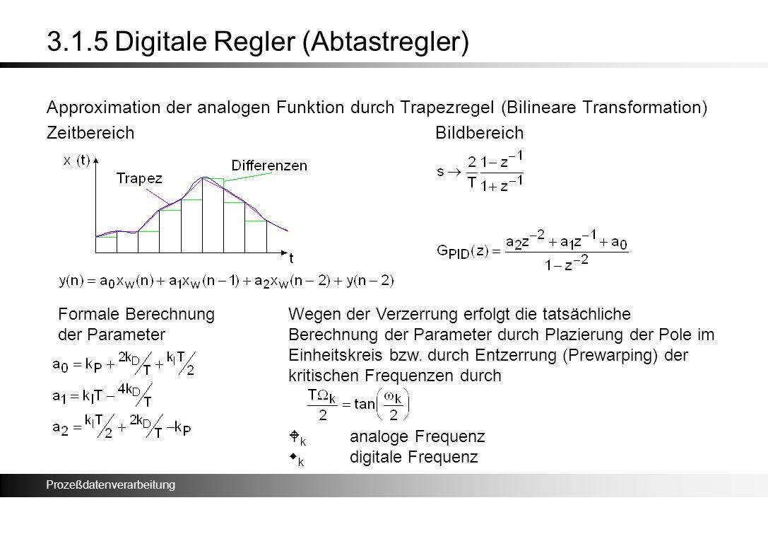 Prozeßdatenverarbeitung 3.1.5 Digitale Regler (Abtastregler) Approximation der analogen Funktion durch Trapezregel (Bilineare Transformation) Zeitbere