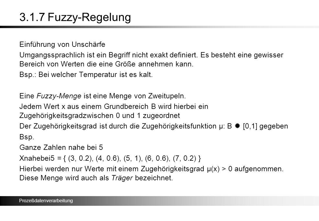 Prozeßdatenverarbeitung 3.1.7 Fuzzy-Regelung Einführung von Unschärfe Umgangssprachlich ist ein Begriff nicht exakt definiert. Es besteht eine gewisse