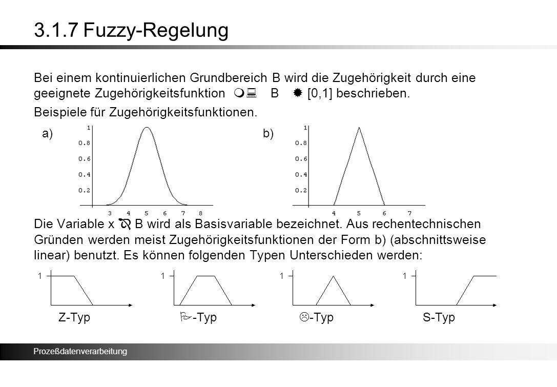 Prozeßdatenverarbeitung 3.1.7 Fuzzy-Regelung Bei einem kontinuierlichen Grundbereich B wird die Zugehörigkeit durch eine geeignete Zugehörigkeitsfunkt