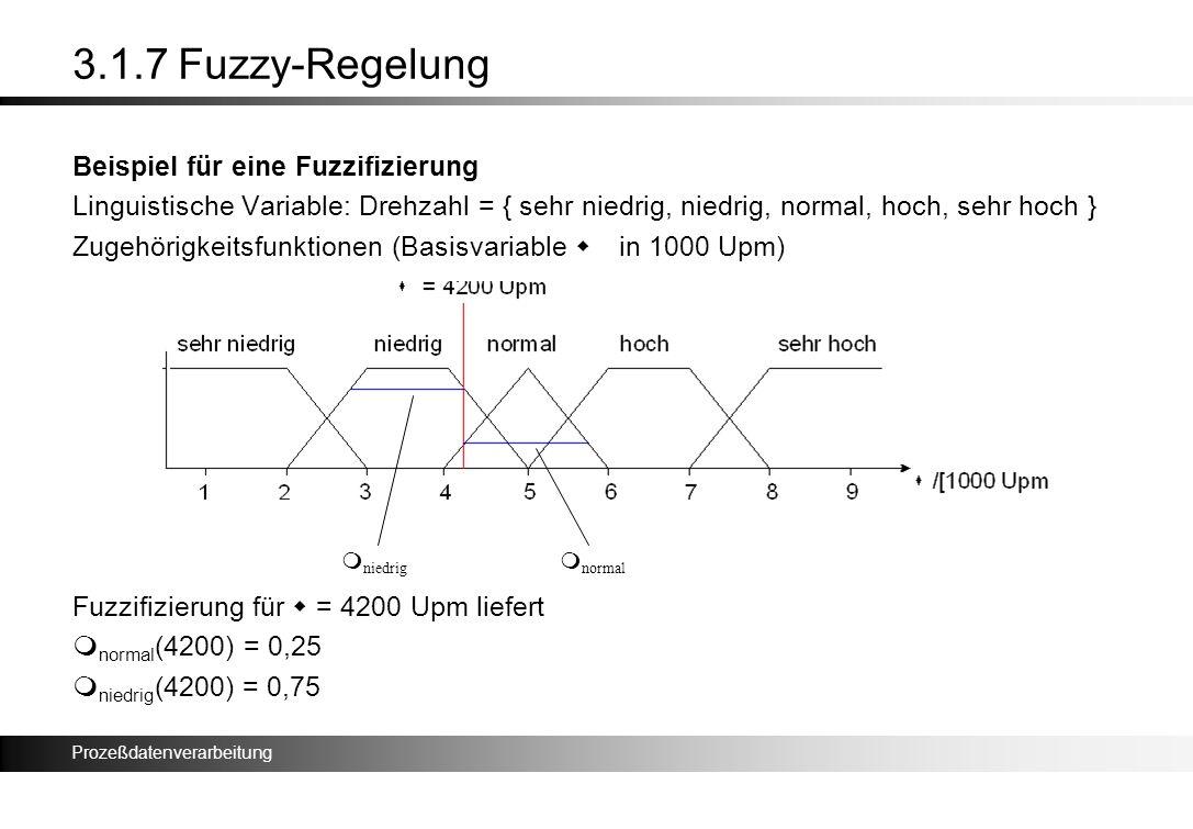 Prozeßdatenverarbeitung 3.1.7 Fuzzy-Regelung Beispiel für eine Fuzzifizierung Linguistische Variable: Drehzahl = { sehr niedrig, niedrig, normal, hoch
