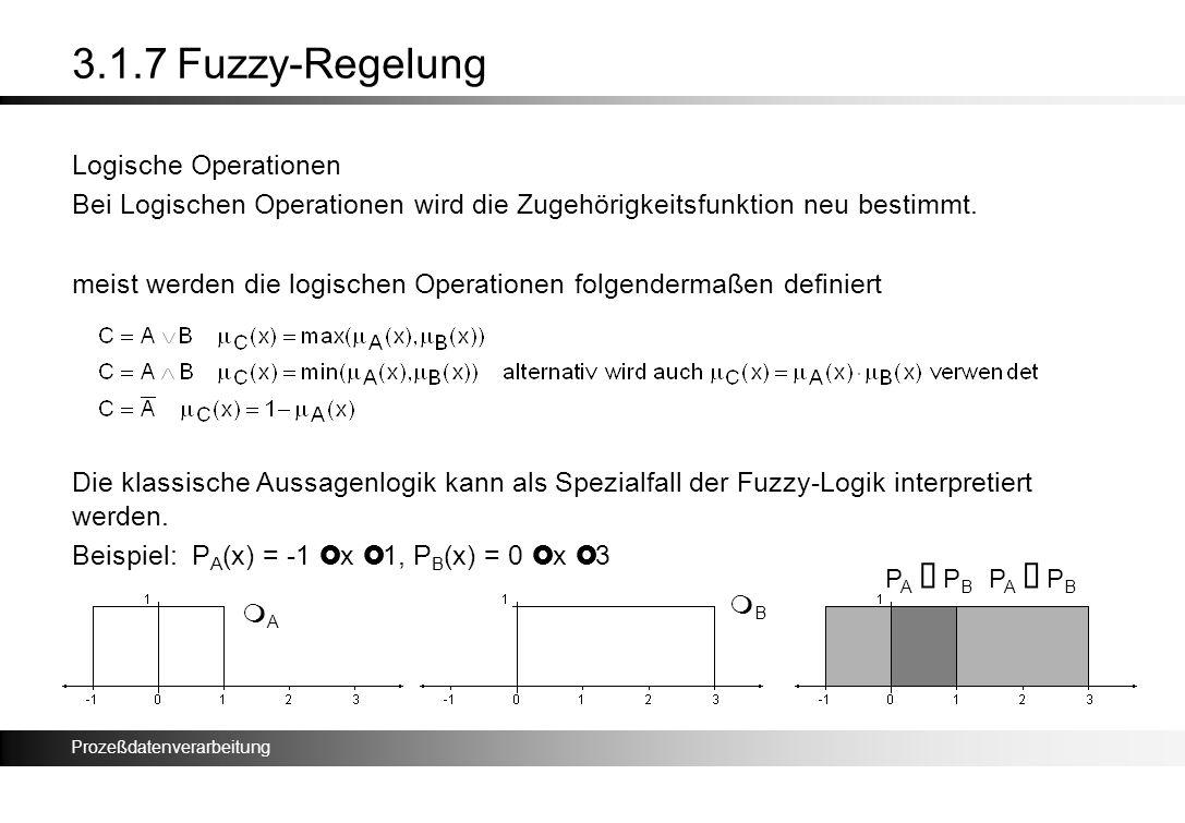 Prozeßdatenverarbeitung 3.1.7 Fuzzy-Regelung Logische Operationen Bei Logischen Operationen wird die Zugehörigkeitsfunktion neu bestimmt. meist werden