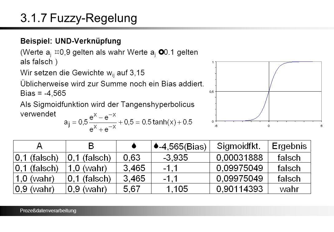 Prozeßdatenverarbeitung 3.1.7 Fuzzy-Regelung Beispiel: UND-Verknüpfung (Werte a j ³ 0,9 gelten als wahr Werte a j £ 0.1 gelten als falsch ) Wir setzen