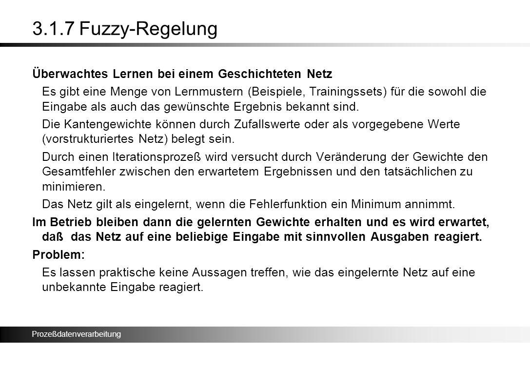 Prozeßdatenverarbeitung 3.1.7 Fuzzy-Regelung Überwachtes Lernen bei einem Geschichteten Netz Es gibt eine Menge von Lernmustern (Beispiele, Trainingss