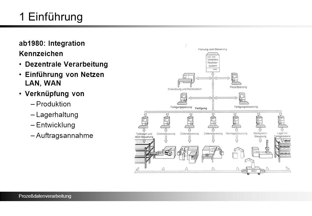 Prozeßdatenverarbeitung 1 Einführung ab1980: Integration Kennzeichen Dezentrale Verarbeitung Einführung von Netzen LAN, WAN Verknüpfung von –Produktio