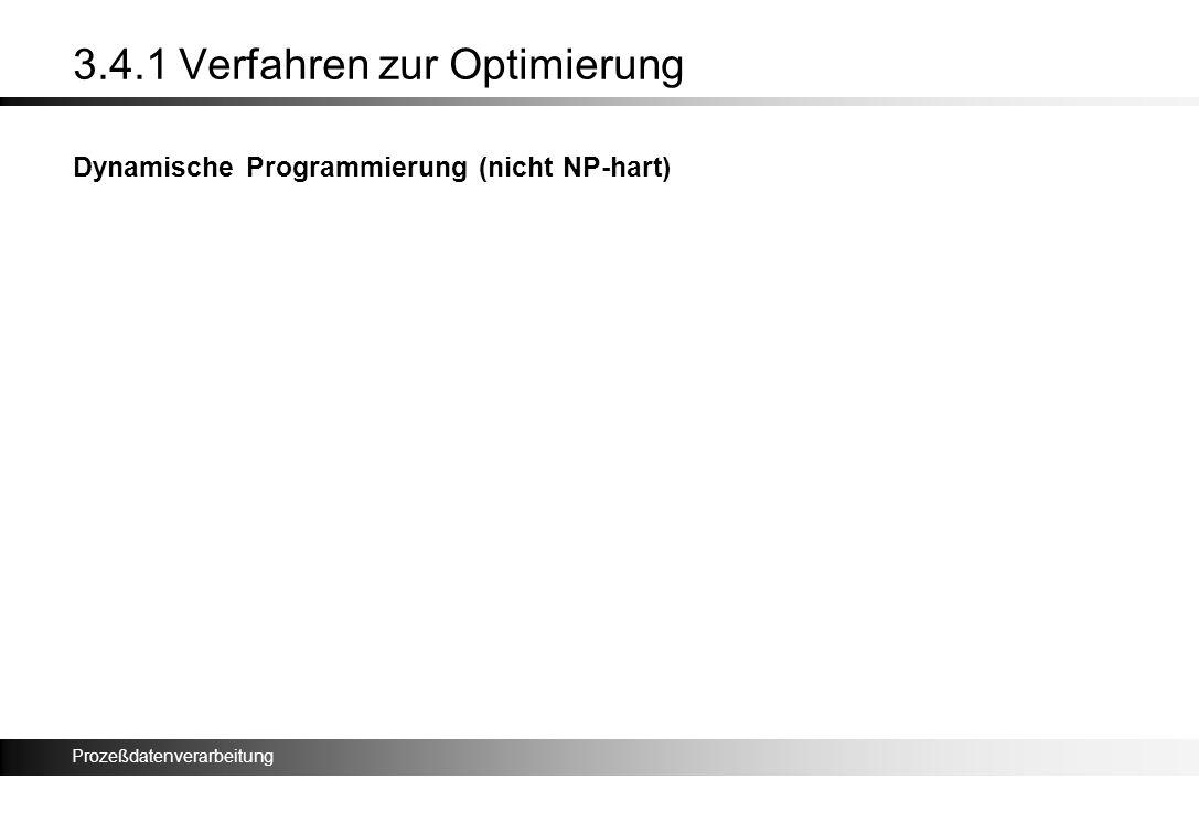 Prozeßdatenverarbeitung 3.4.1 Verfahren zur Optimierung Dynamische Programmierung (nicht NP-hart)