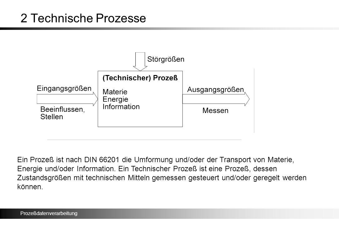 Prozeßdatenverarbeitung 2 Technische Prozesse Ein Prozeß ist nach DIN 66201 die Umformung und/oder der Transport von Materie, Energie und/oder Informa