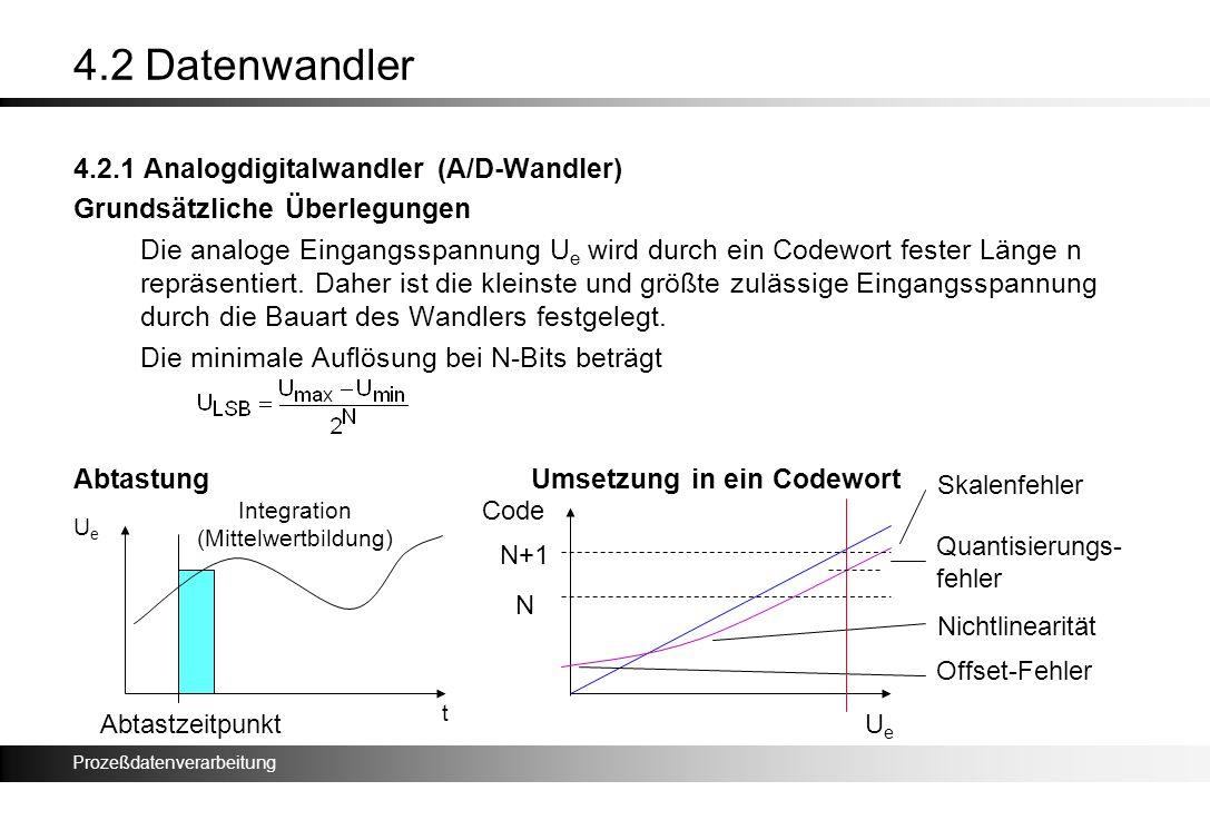Prozeßdatenverarbeitung 4.2 Datenwandler 4.2.1 Analogdigitalwandler (A/D-Wandler) Grundsätzliche Überlegungen Die analoge Eingangsspannung U e wird du