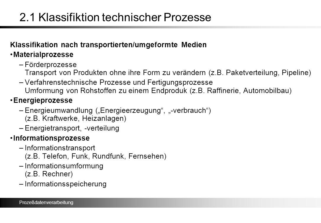 Prozeßdatenverarbeitung 2.1 Klassifiktion technischer Prozesse Klassifikation nach transportierten/umgeformte Medien Materialprozesse –Förderprozesse
