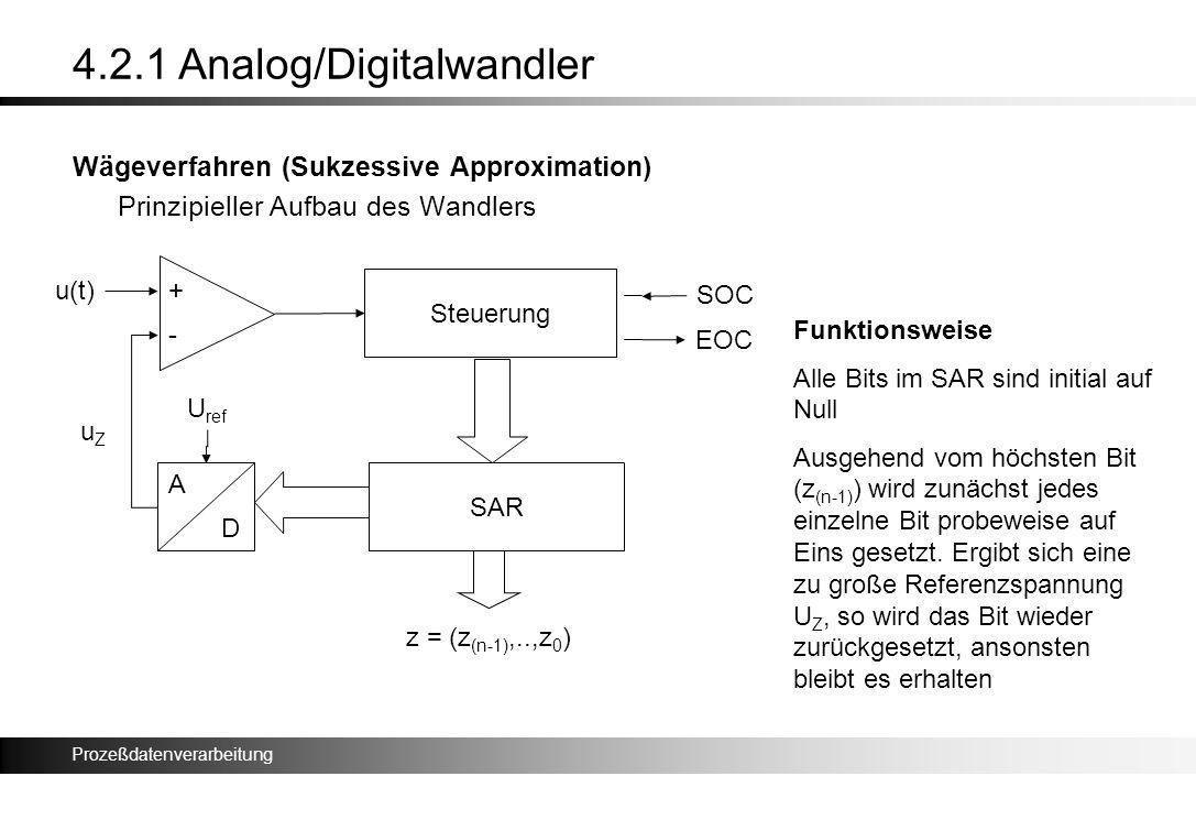 Prozeßdatenverarbeitung 4.2.1 Analog/Digitalwandler Wägeverfahren (Sukzessive Approximation) Prinzipieller Aufbau des Wandlers u(t)+ - Steuerung SAR A