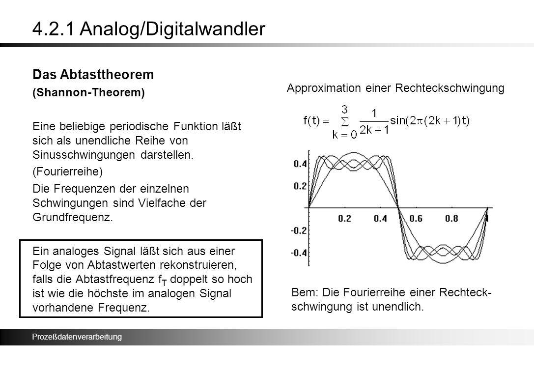 Prozeßdatenverarbeitung 4.2.1 Analog/Digitalwandler Das Abtasttheorem (Shannon-Theorem) Eine beliebige periodische Funktion läßt sich als unendliche R