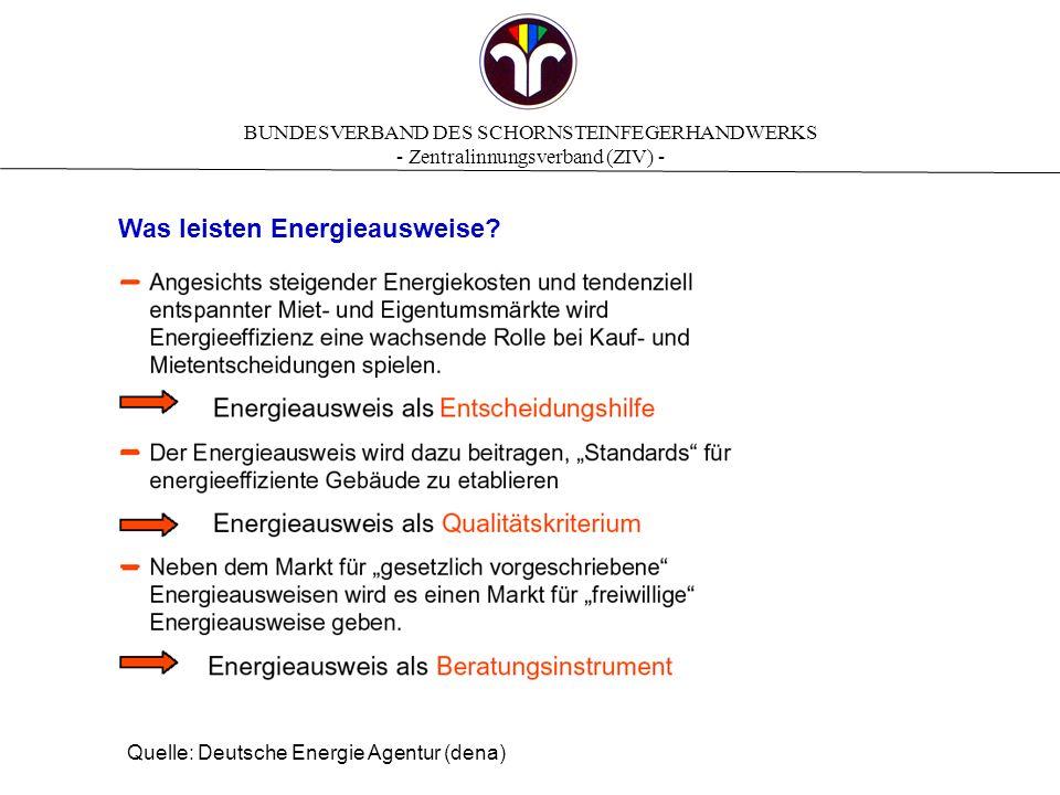 BUNDESVERBAND DES SCHORNSTEINFEGERHANDWERKS - Zentralinnungsverband (ZIV) - Die EnEV 2007 wird ergänzt durch 4 Bekanntmachungen Bekanntgemachte Regeln für Energieausweise