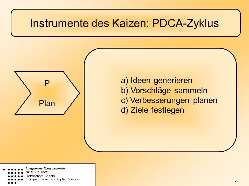 -3- Integriertes Management – Dr. M. Beutner Instrumente des Kaizen: PDCA-Zyklus P Plan a) Ideen generieren b) Vorschläge sammeln c) Verbesserungen pl