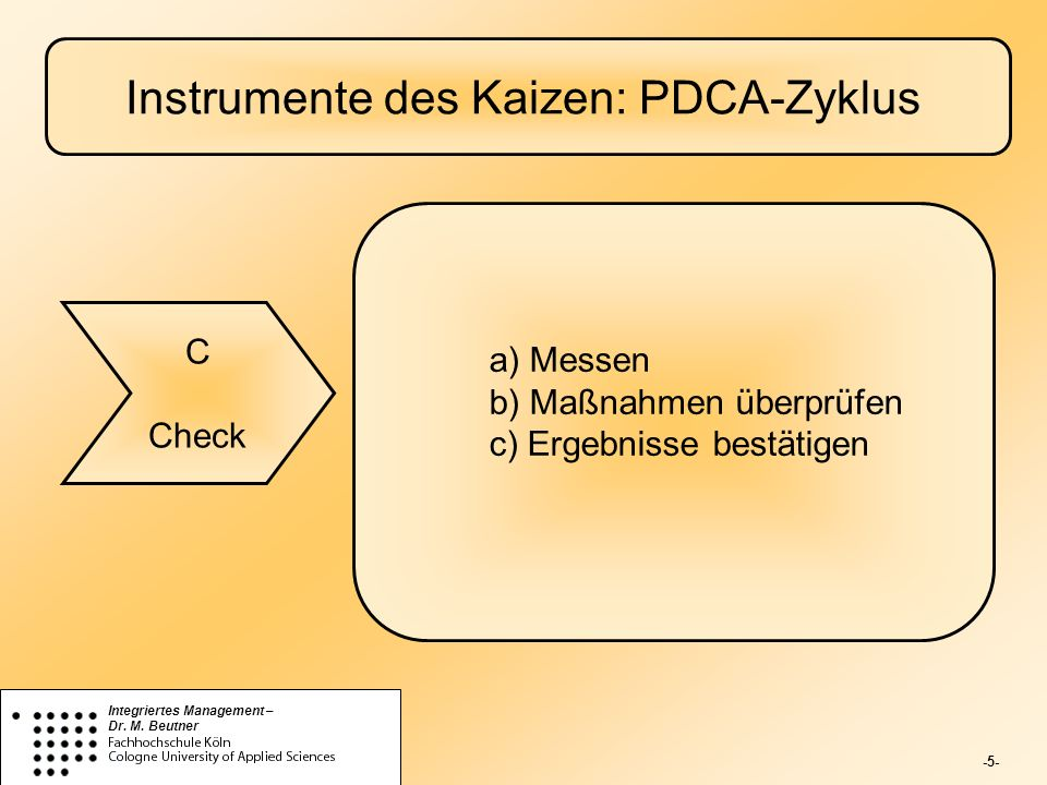 -5- Integriertes Management – Dr. M. Beutner Instrumente des Kaizen: PDCA-Zyklus C Check a) Messen b) Maßnahmen überprüfen c) Ergebnisse bestätigen