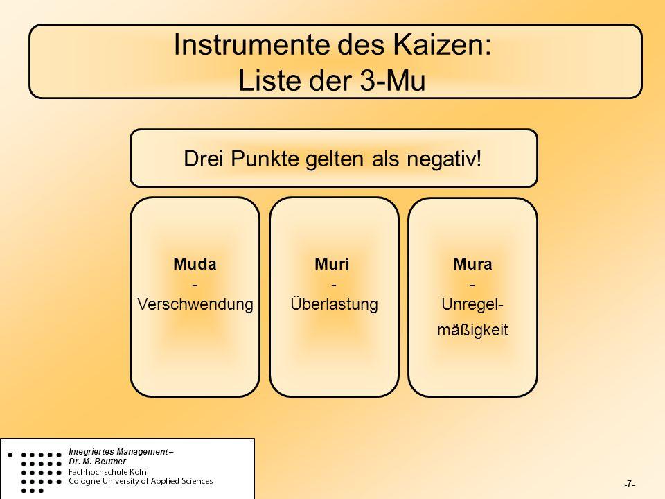 -7- Integriertes Management – Dr. M. Beutner Instrumente des Kaizen: Liste der 3-Mu Drei Punkte gelten als negativ! Muda - Verschwendung Mura - Unrege