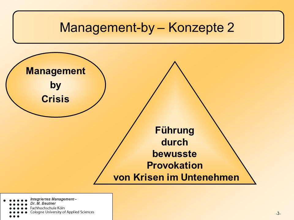 -3- Integriertes Management – Dr. M. Beutner Management-by – Konzepte 2 Führung durch bewusste Provokation von Krisen im Untenehmen Management by Cris