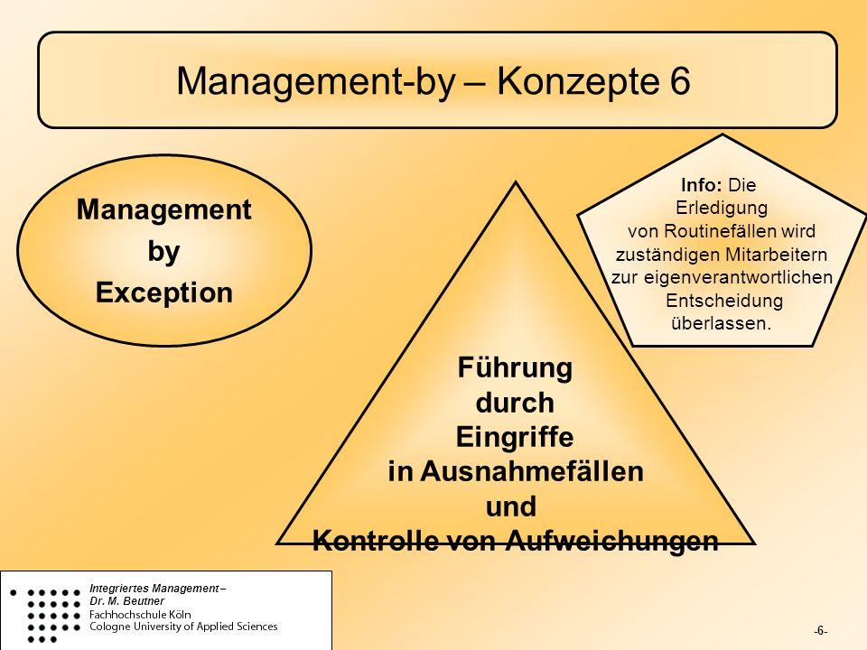 -6- Integriertes Management – Dr. M. Beutner Management-by – Konzepte 6 Führung durch Eingriffe in Ausnahmefällen und Kontrolle von Aufweichungen Mana