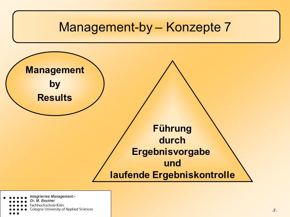 -7- Integriertes Management – Dr. M. Beutner Management-by – Konzepte 7 Führung durch Ergebnisvorgabe und laufende Ergebniskontrolle Management by Res