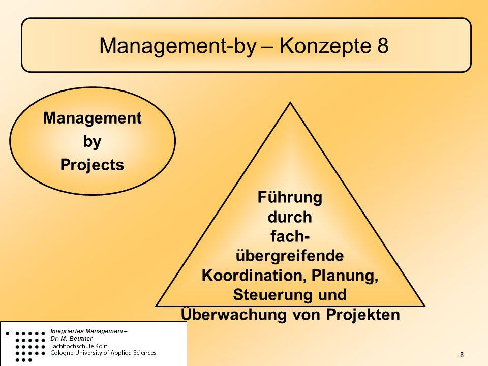 -8- Integriertes Management – Dr. M. Beutner Management-by – Konzepte 8 Führung durch fach- übergreifende Koordination, Planung, Steuerung und Überwac