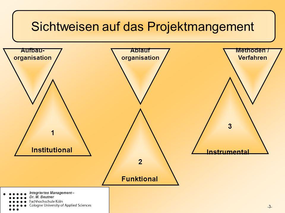 -3- Integriertes Management – Dr. M. Beutner Sichtweisen auf das Projektmangement 1 Institutional 2 Funktional 3 Instrumental Aufbau- organisation Met