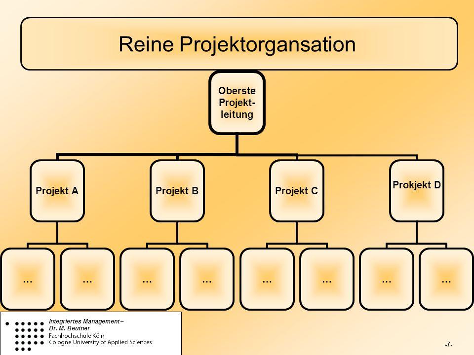 -7- Integriertes Management – Dr. M. Beutner Reine Projektorgansation Oberste Projekt- leitung Projekt A …… Projekt B …… Projekt C …… Prokjekt D ……