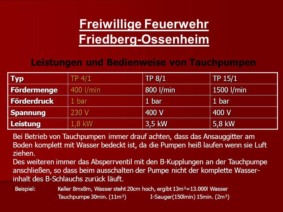 Freiwillige Feuerwehr Friedberg-Ossenheim Typ TP 4/1 TP 8/1 TP 15/1 Fördermenge 400 l/min 800 l/min 1500 l/min Förderdruck 1 bar Spannung 230 V 400 V Leistung 1,8 kW 3,5 kW 5,8 kW Leistungen und Bedienweise von Tauchpumpen Bei Betrieb von Tauchpumpen immer drauf achten, dass das Ansauggitter am Boden komplett mit Wasser bedeckt ist, da die Pumpen heiß laufen wenn sie Luft ziehen.