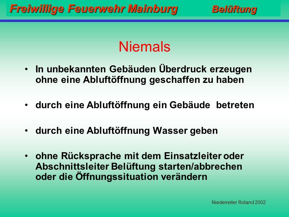 Freiwillige Feuerwehr Mainburg Belüftung Niederreiter Roland 2002 Häufig gemachte Fehler: Es werden zu viele Abluftöffnungen geschaffen (alle Treppenr