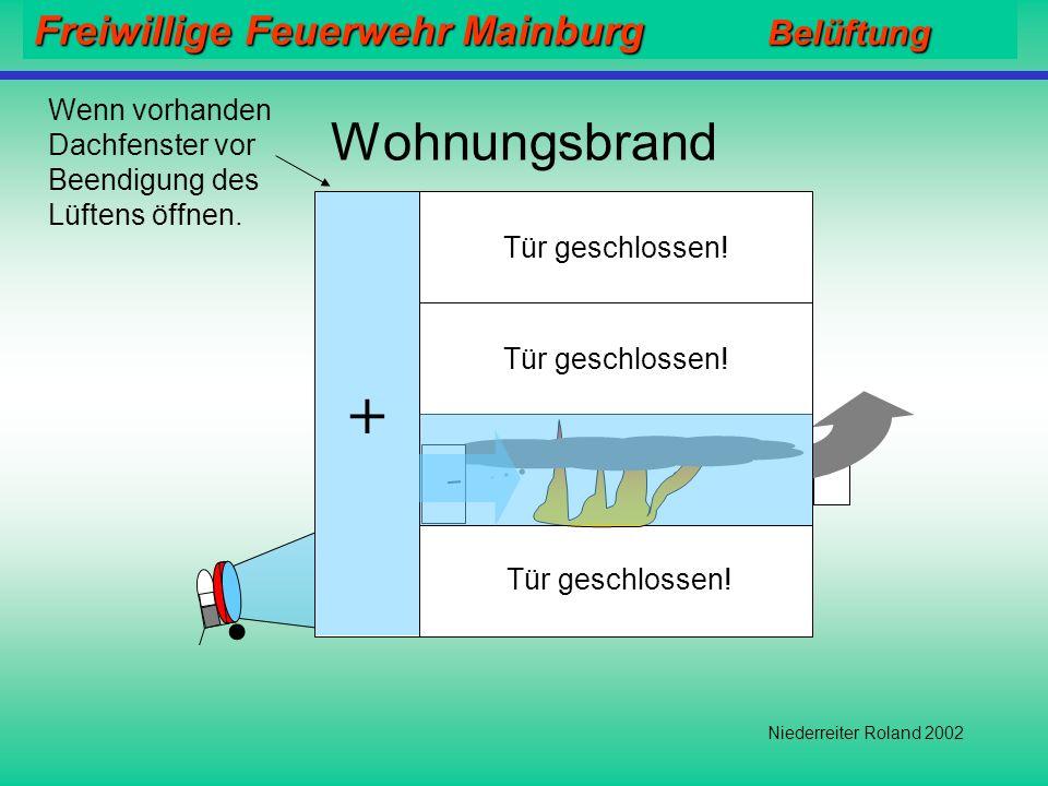 Freiwillige Feuerwehr Mainburg Belüftung Niederreiter Roland 2002 Niemals In unbekannten Gebäuden Überdruck erzeugen ohne eine Abluftöffnung geschaffe