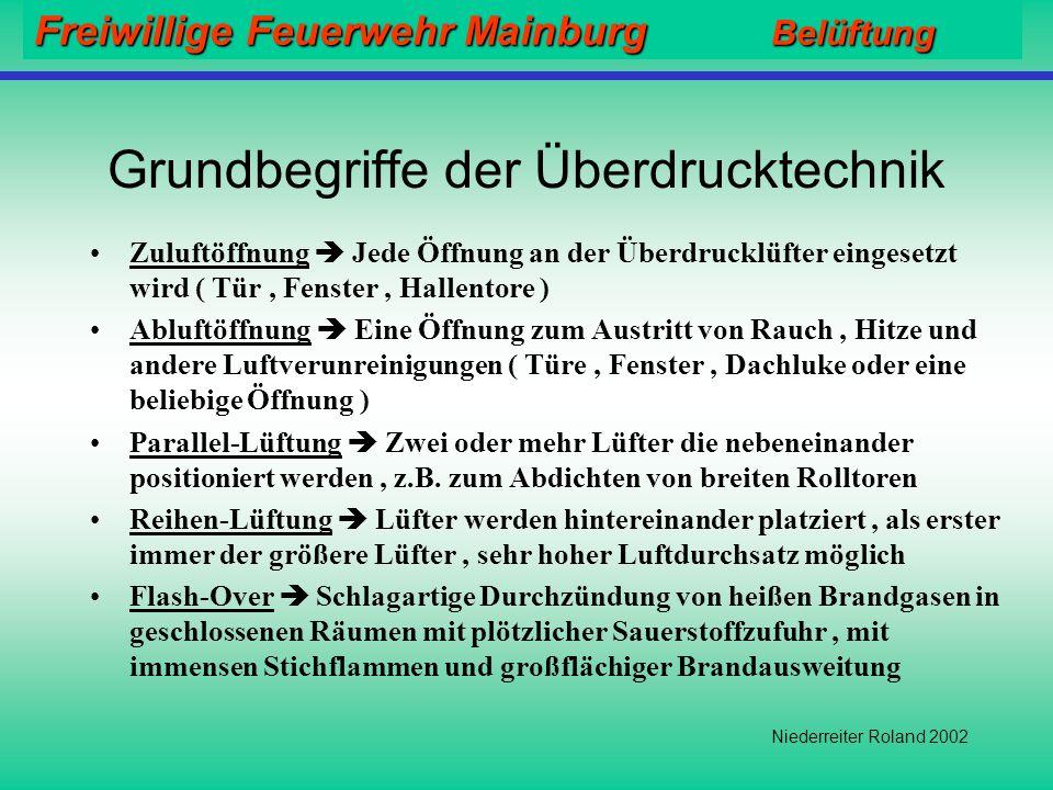 Freiwillige Feuerwehr Mainburg Belüftung Niederreiter Roland 2002 Mögliche Probleme Rauch wird in Bereiche gedrückt in denen er unerwünscht ist. Durch