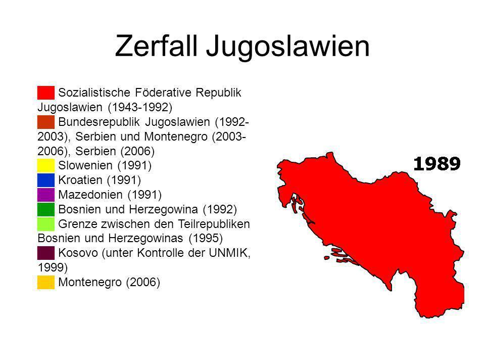 Zerfall Jugoslawien Sozialistische Föderative Republik Jugoslawien (1943-1992) Bundesrepublik Jugoslawien (1992- 2003), Serbien und Montenegro (2003- 2006), Serbien (2006) Slowenien (1991) Kroatien (1991) Mazedonien (1991) Bosnien und Herzegowina (1992) Grenze zwischen den Teilrepubliken Bosnien und Herzegowinas (1995) Kosovo (unter Kontrolle der UNMIK, 1999) Montenegro (2006)