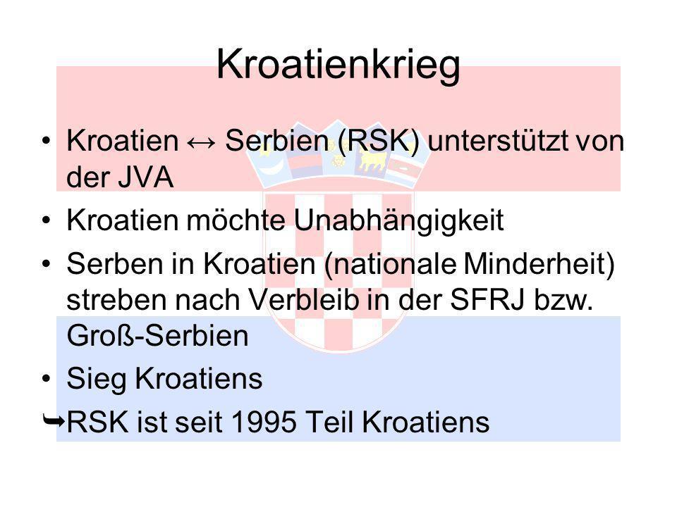 Kroatienkrieg Kroatien Serbien (RSK) unterstützt von der JVA Kroatien möchte Unabhängigkeit Serben in Kroatien (nationale Minderheit) streben nach Verbleib in der SFRJ bzw.