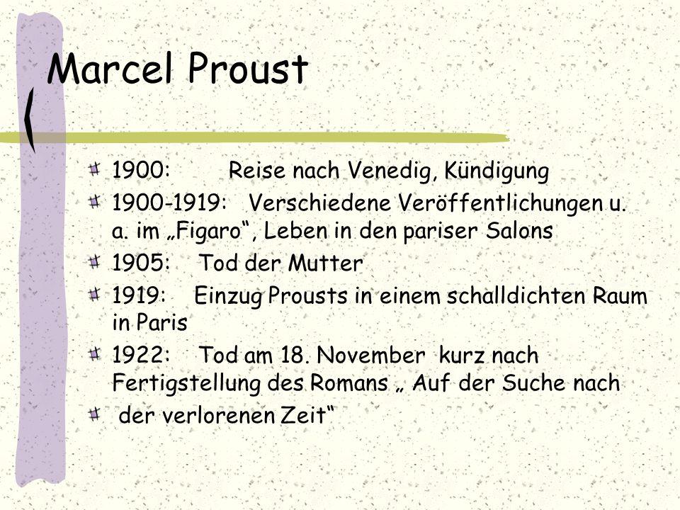 Marcel Proust 1900: Reise nach Venedig, Kündigung 1900-1919: Verschiedene Veröffentlichungen u. a. im Figaro, Leben in den pariser Salons 1905: Tod de
