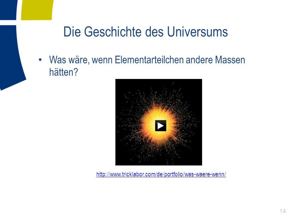 Was wäre, wenn Elementarteilchen andere Massen hätten? http://www.tricklabor.com/de/portfolio/was-waere-wenn/ Die Geschichte des Universums 14