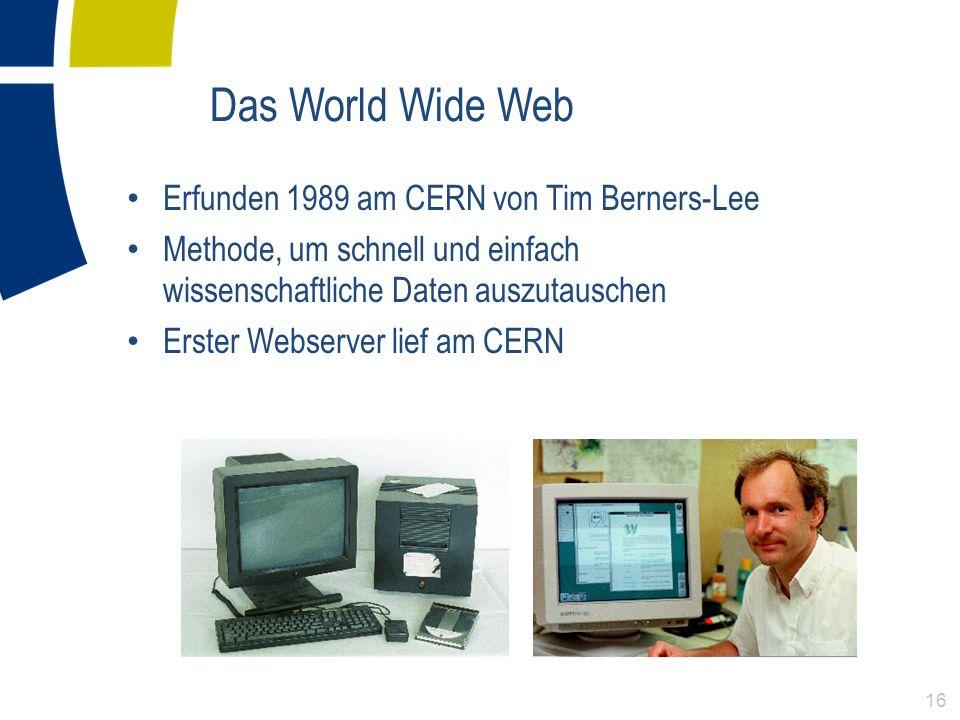 Das World Wide Web Erfunden 1989 am CERN von Tim Berners-Lee Methode, um schnell und einfach wissenschaftliche Daten auszutauschen Erster Webserver li
