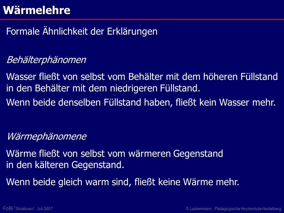 FoBi Strukturen, Juli 2007© Laukenmann, Pädagogische Hochschule HeidelbergWärmelehre Formale Ähnlichkeit der Erklärungen Behälterphänomen Wasser fließ