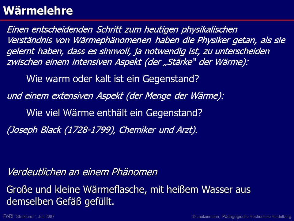 FoBi Strukturen, Juli 2007© Laukenmann, Pädagogische Hochschule HeidelbergWärmelehre Verdeutlichen an einem Phänomen Große und kleine Wärmeflasche, mi
