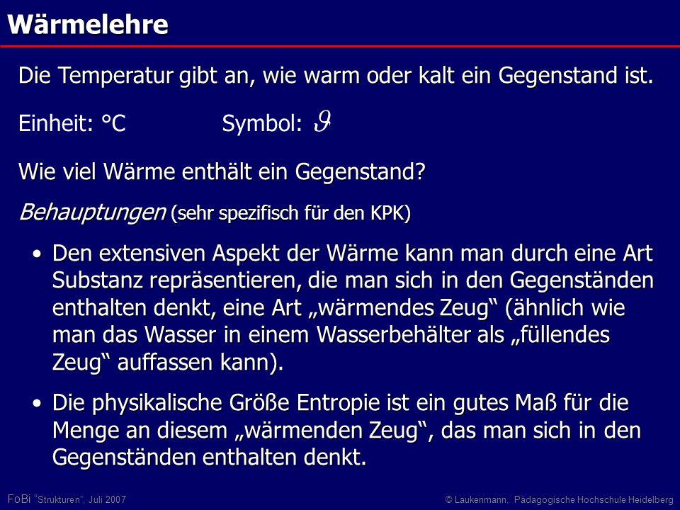 FoBi Strukturen, Juli 2007© Laukenmann, Pädagogische Hochschule HeidelbergWärmelehre Einheit: °C Symbol: Die Temperatur gibt an, wie warm oder kalt ei