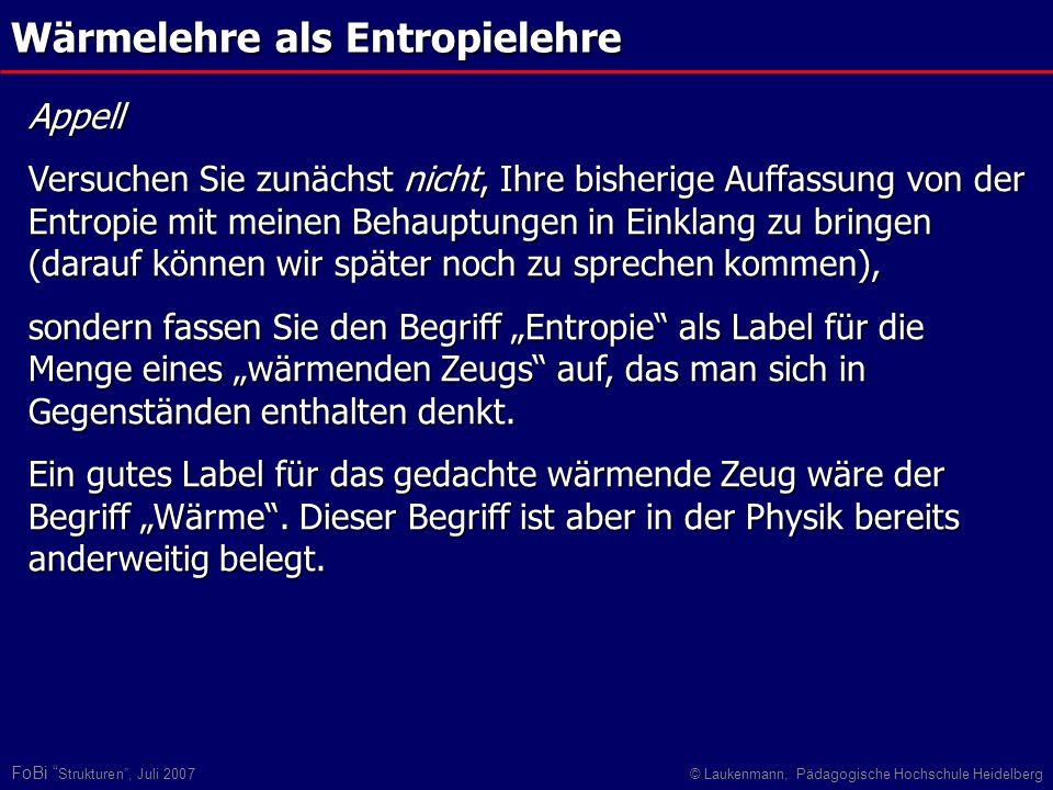 FoBi Strukturen, Juli 2007© Laukenmann, Pädagogische Hochschule Heidelberg Wärmelehre als Entropielehre Appell Versuchen Sie zunächst nicht, Ihre bish