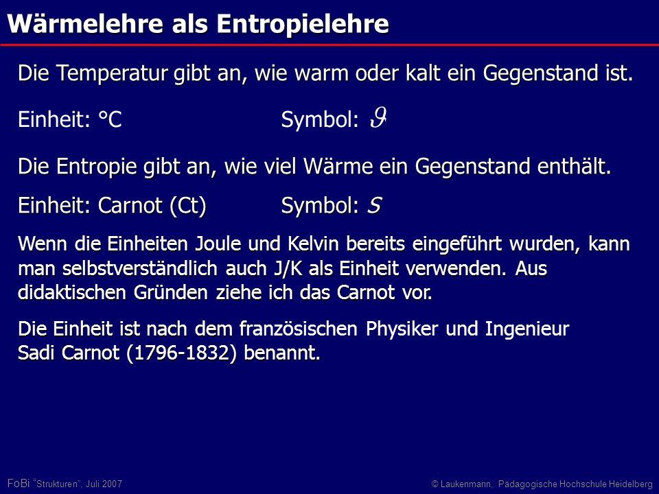FoBi Strukturen, Juli 2007© Laukenmann, Pädagogische Hochschule Heidelberg Wärmelehre als Entropielehre Die Entropie gibt an, wie viel Wärme ein Gegen