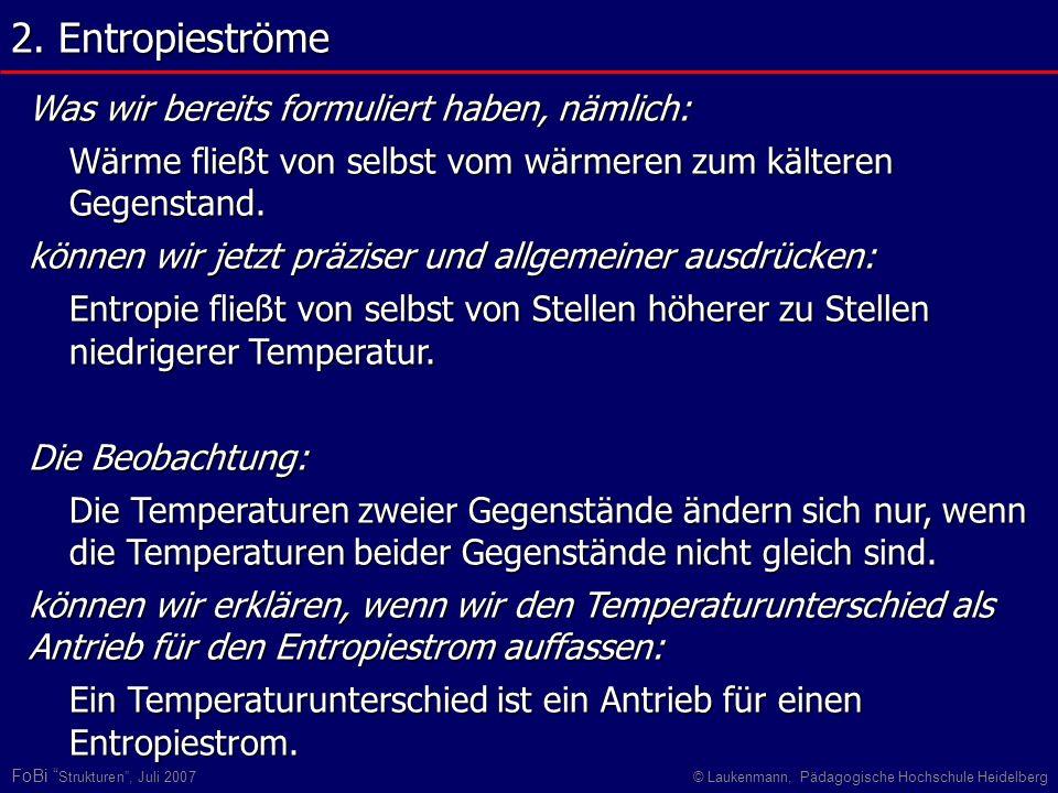 FoBi Strukturen, Juli 2007© Laukenmann, Pädagogische Hochschule Heidelberg Was wir bereits formuliert haben, nämlich: Wärme fließt von selbst vom wärm