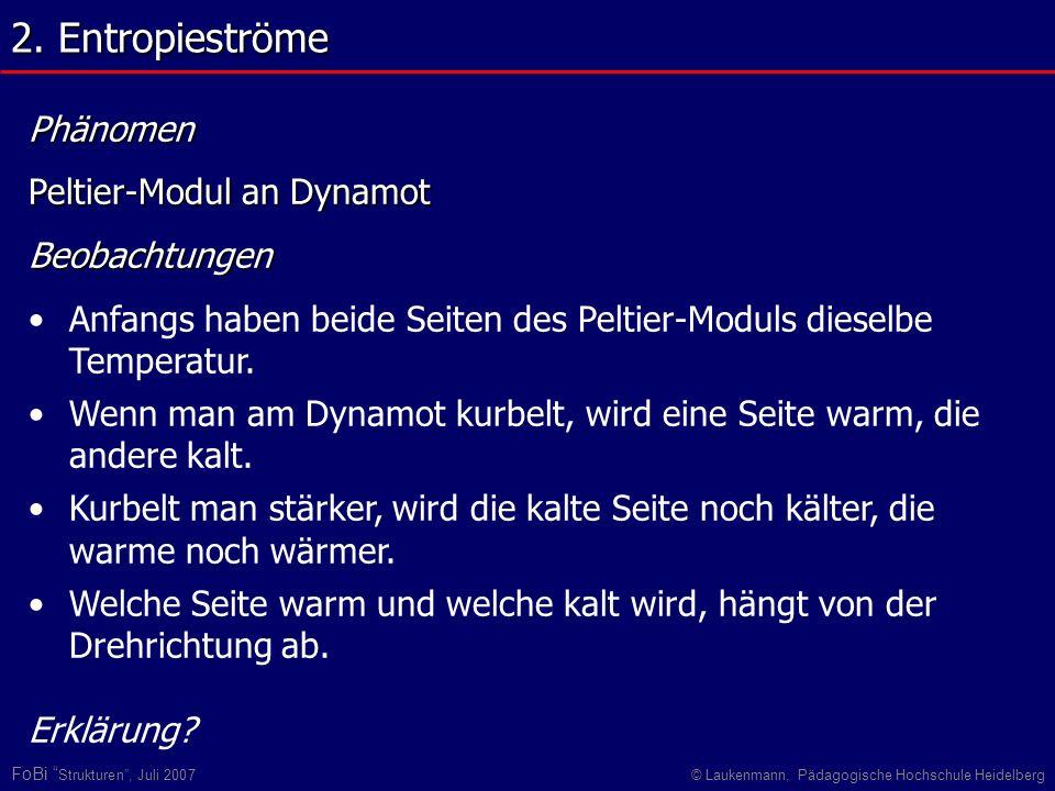 FoBi Strukturen, Juli 2007© Laukenmann, Pädagogische Hochschule Heidelberg Phänomen Peltier-Modul an Dynamot Beobachtungen Anfangs haben beide Seiten