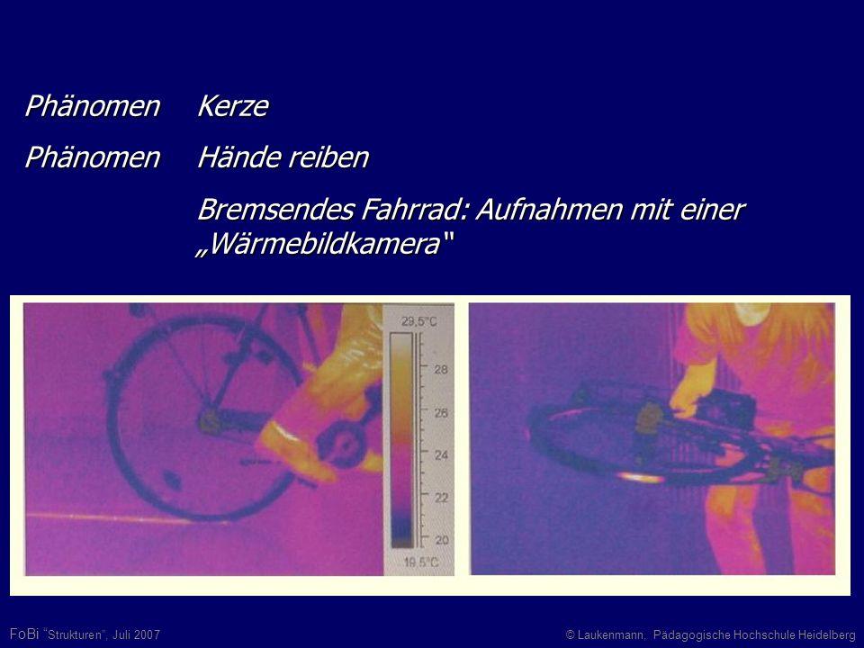 FoBi Strukturen, Juli 2007© Laukenmann, Pädagogische Hochschule Heidelberg Phänomen Kerze Phänomen Hände reiben Bremsendes Fahrrad: Aufnahmen mit eine